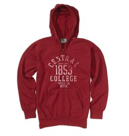 MVSPT Classic Fleece Distressed 1853 Full Zip Crimson