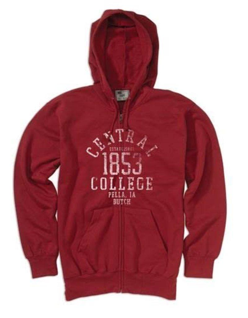 MVSPT Classic Fleece Distressed 1853 Full Zip Crimson