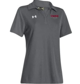 UA UA Gray Performance Polo Y Neck Academic Logo Red/Gry