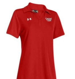 UA UA Red Performance Polo Y Neck Academic Logo White
