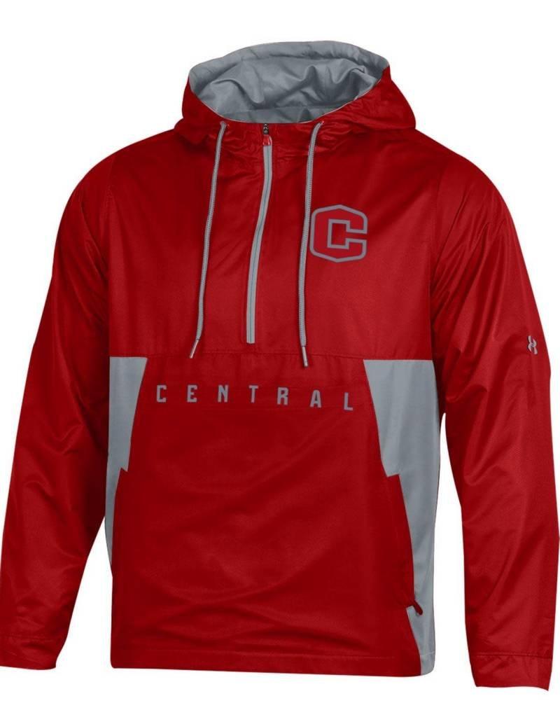 UA UA SMU 1/4 Red/Gray Hooded Jacket