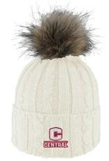 LOGOF LogoFit Ladies Knit Hat Faux Fur Pom Cream