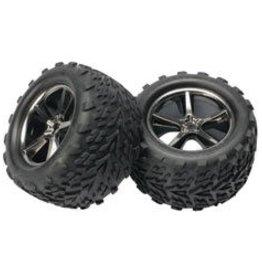 TRA Gemini Black Chrome Wheel w/ Talon Tire (2):E-Revo (TRA5374A)