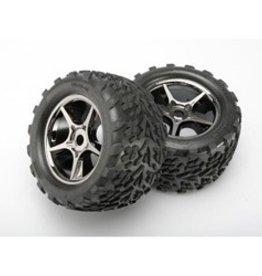 TRA Gemini Blk Chrome Wheel&Talon Tire (2) 17mm:E-Revo