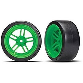 Traxxas 8376G Tires and wheels - assembled - glued (split-spoke green wheels