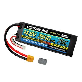 Lectron Pro 14.8V 7600mAh 75C Hard Case Lipo Battery with XT60 Connector + CSRC adapter for XT60 batteries to Traxxas vehicles