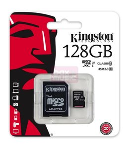 Carte Mémoire 128 Go Micro Sd avec Adapteur SD Classe 10 Kingston