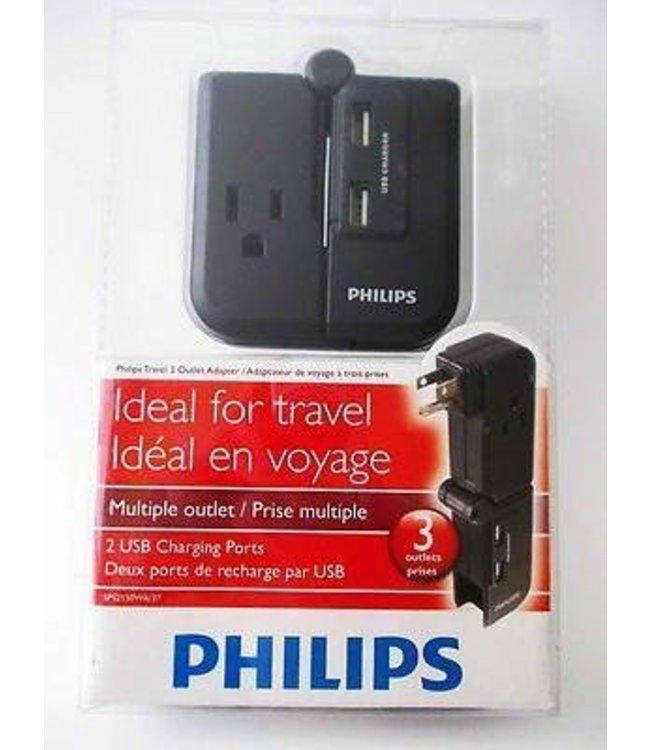 Chargeur USB avec 3 prise electrique Philips SPS2150WA