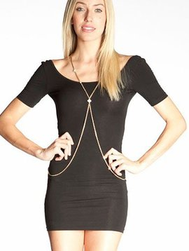 LA Lloyd Designs LA Lloyd Designs Matte Gold Chain w/Ivory Flower & Diamond Detail