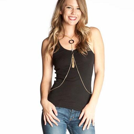 LA Lloyd Designs LA Lloyd Designs Black Malachite & Gold Chain