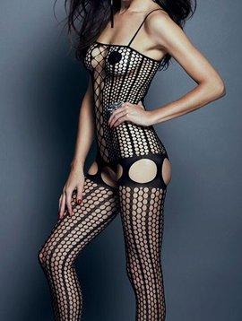 Hauty Hauty Faux Lace Up Striped Bodysuit - Black