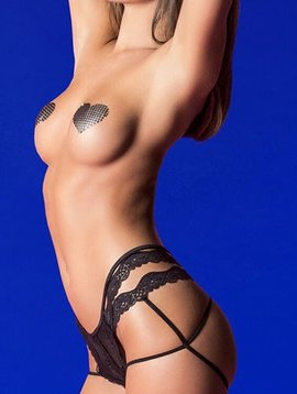 Hauty Hauty Back Cage Panty W/Lace Trim Detail - Black