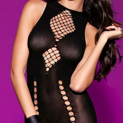 Hauty Hauty Chemise W/Diamond Shape Crisscross Detail