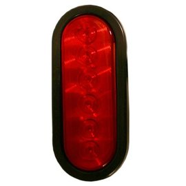 "Blazer International LED 6"" Oval S/T/T Reduced Diode with Grommet and Plug, Red"