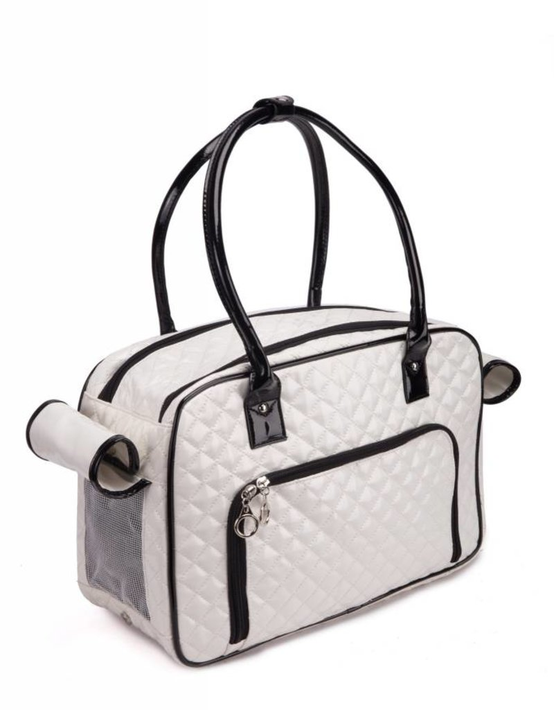 Quality Pu Leather Pet Carrier Small Dog Bag Luxury Diamond Quilted Outdoor Travel