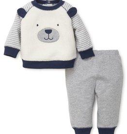 Little Me Puppy Face Sweatshirt Set