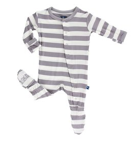 Kickee Pants Feather Contrast Stripe Footie