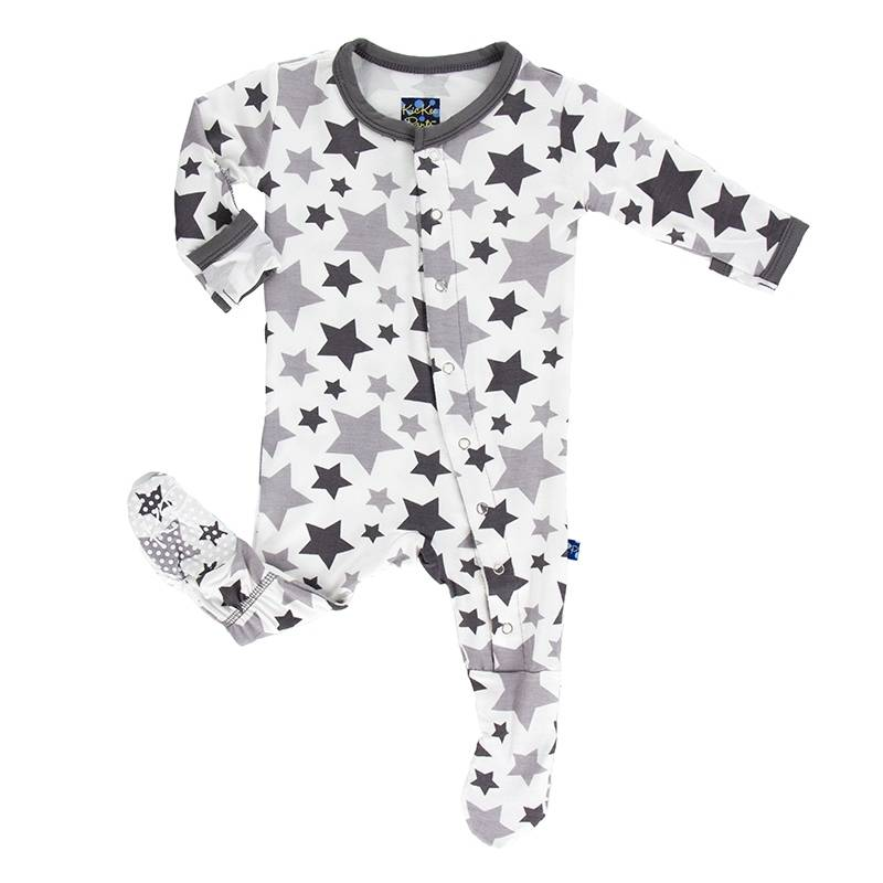 Kickee Pants Feather/Rain Stars Footie