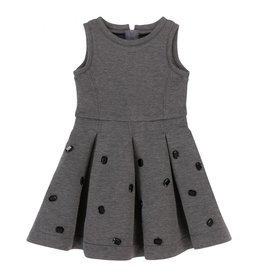 Deux Par Deux Grey Bejeweled Dress