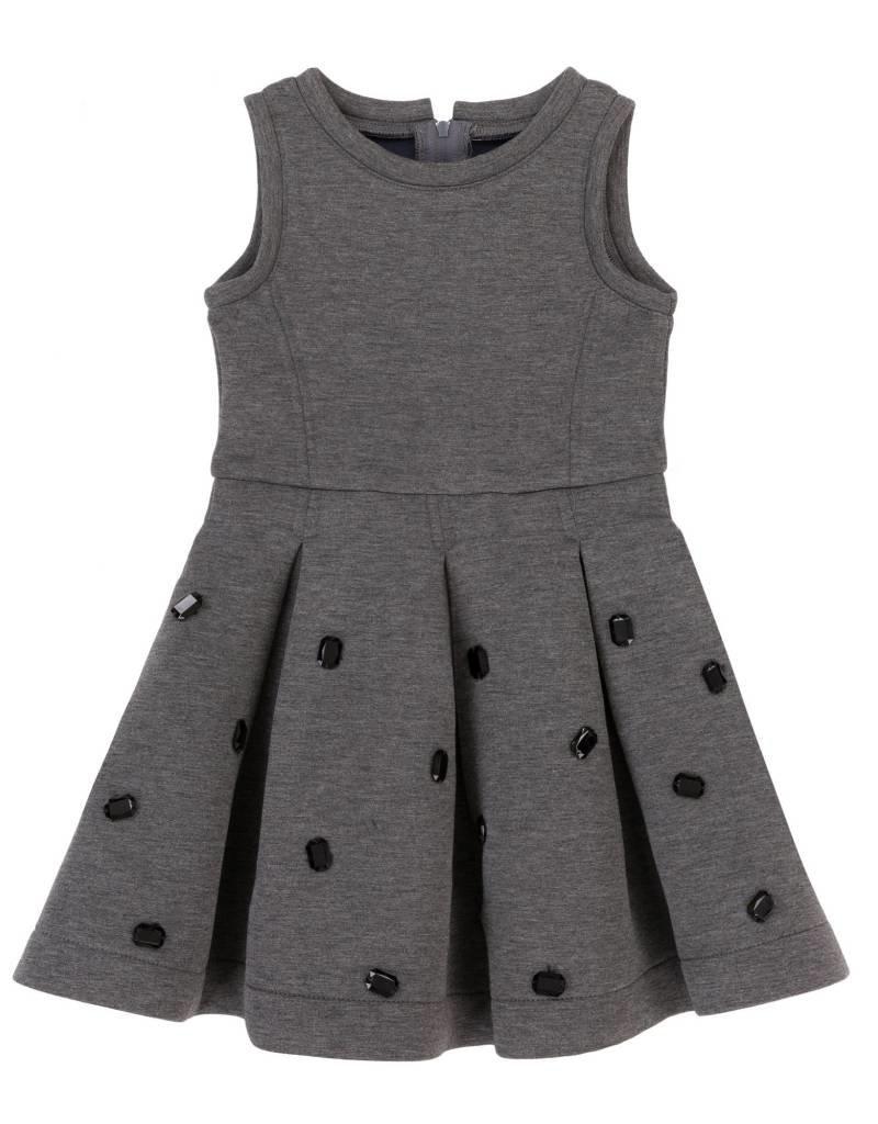 Deux Par Deux Grey Bejeweled Dress