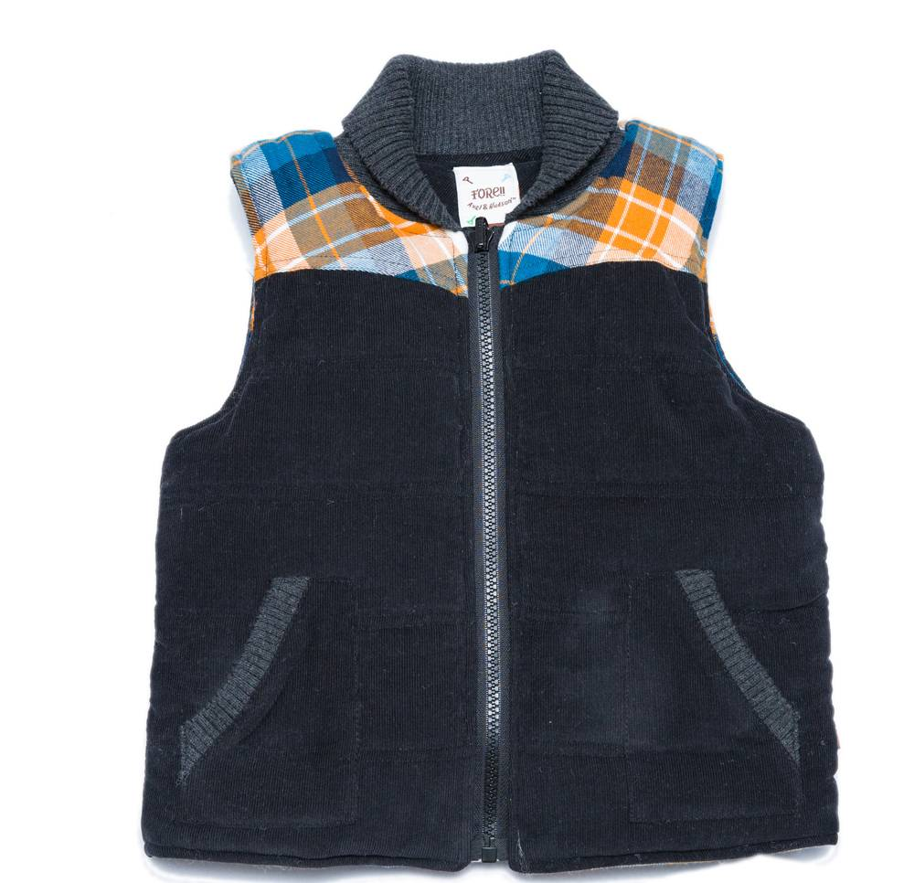 Fore! Charcoal Corduroy with orange flannel plaid