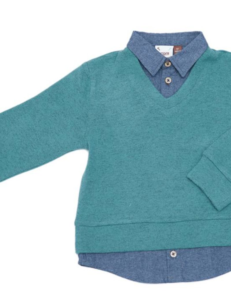 Fore! Green v-Neck Sweater w Faux Shirt