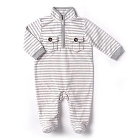 Kapital K Polar Bear Stripe Fleece footed coverall