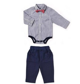 Kapital K Navy Windowpane plaid bowtie bodysuit and pant