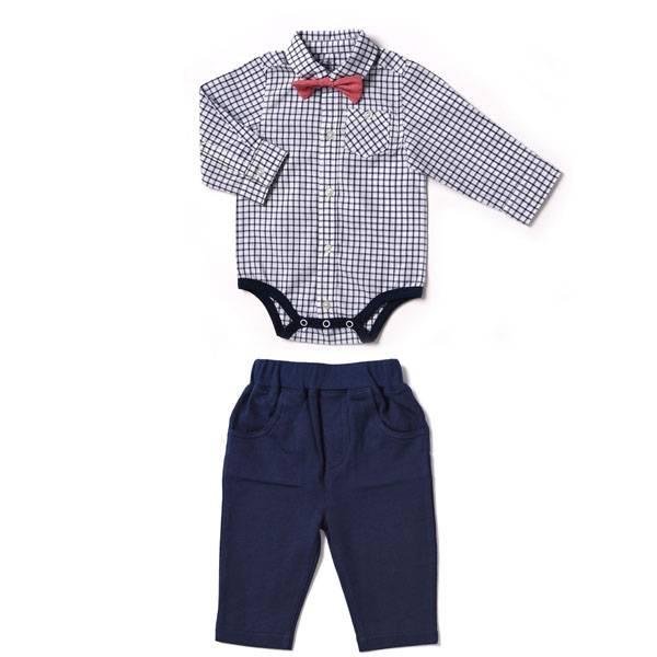 Kapital K Navy Windowpane plaid bowtie bodysuit and pant