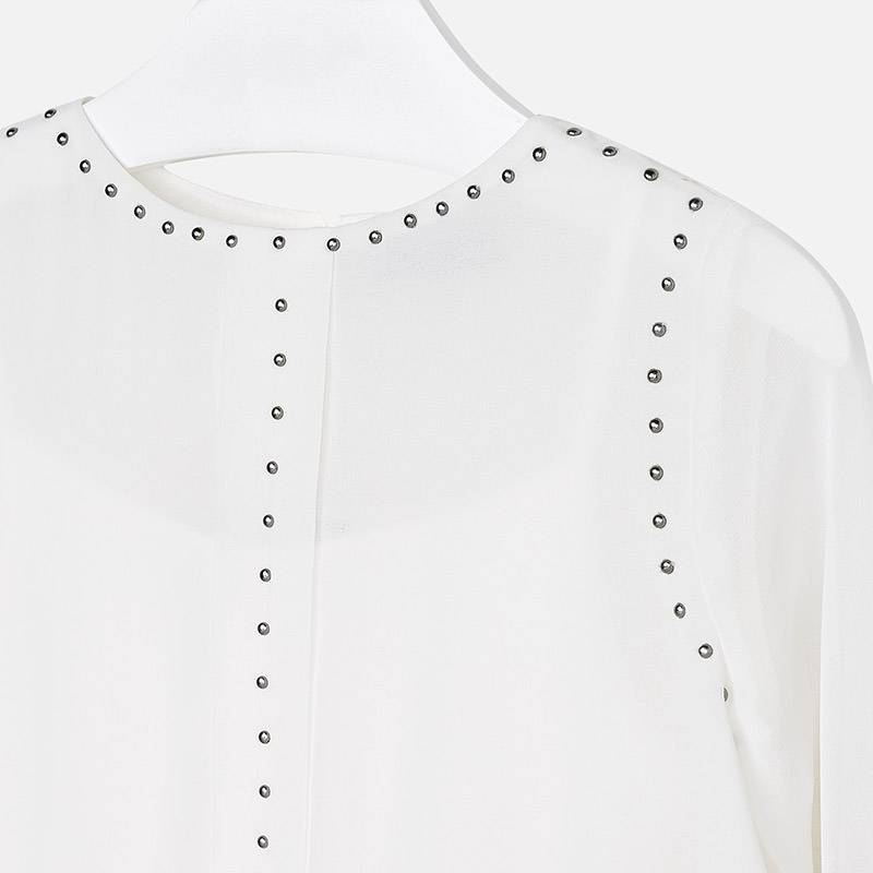 Mayoral USA Natural Stud Gauze Blouse