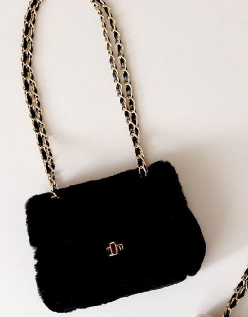 Mae Li Rose Black Furry Purse