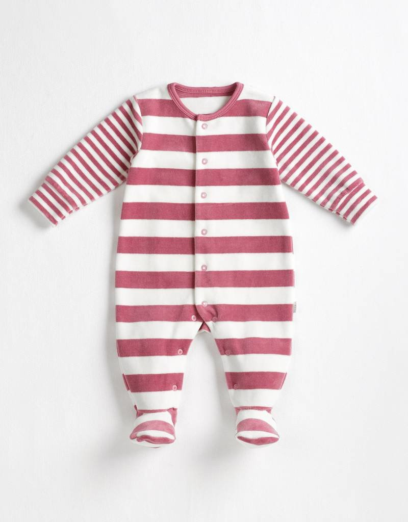 Petit lem Dusty Pink Velour Stripe Sleeper