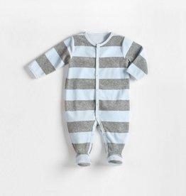 Petit lem Dusty Blue Velour Stripe Sleeper