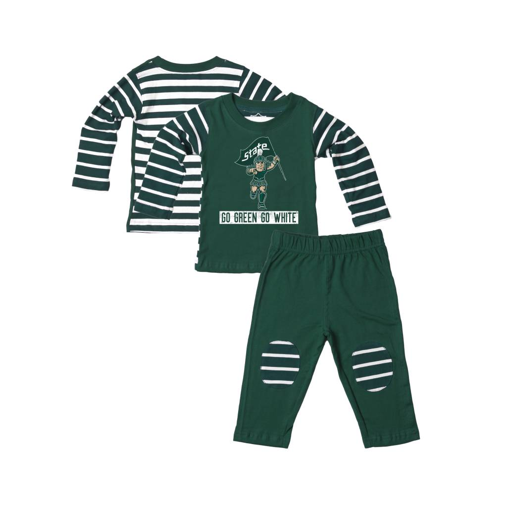 Wes and Willy MSU Stripe Top Set