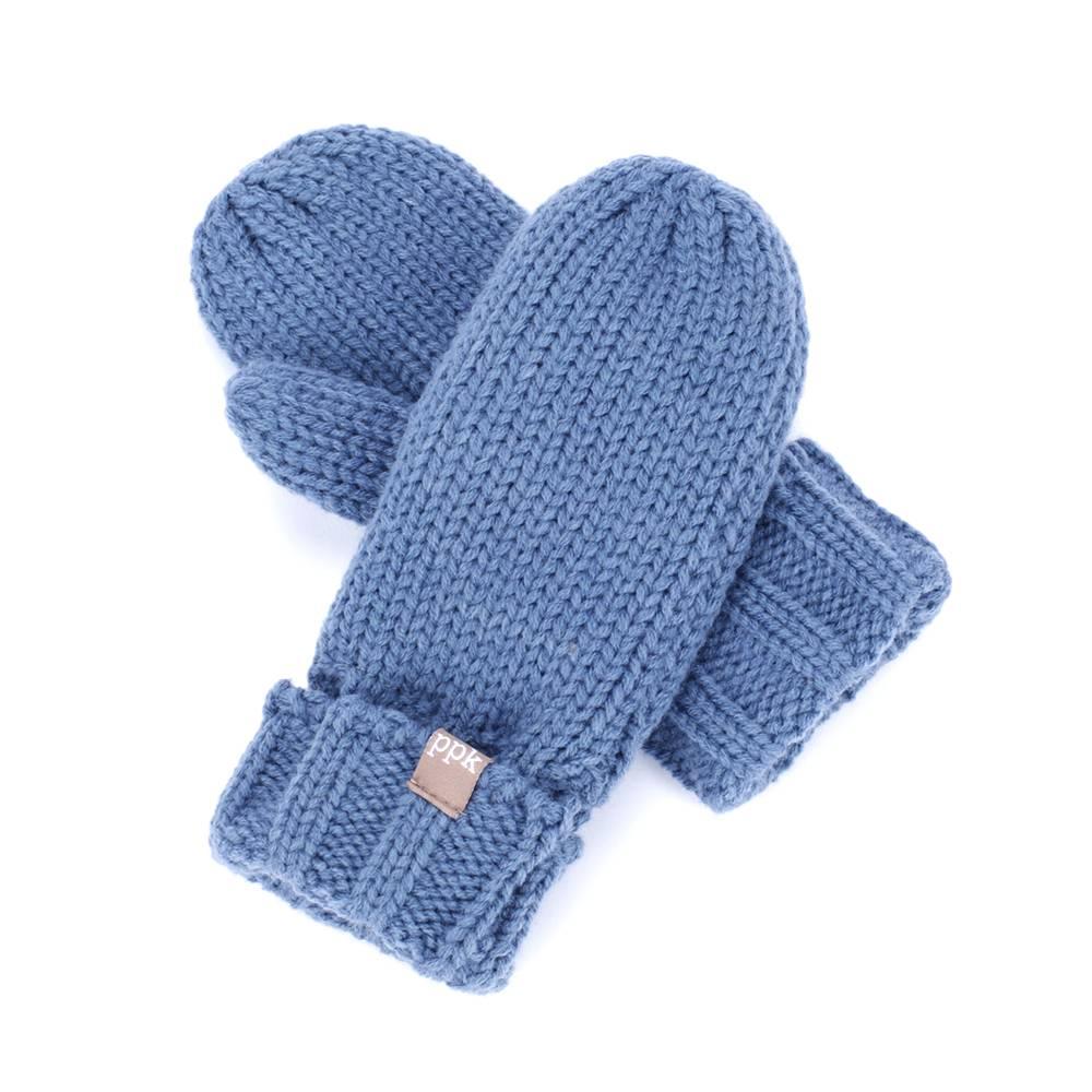 Peppercorn Kids Blue Solid Fold-Up Edge Mittens
