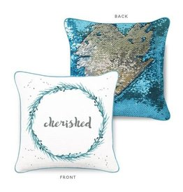 Mermaid Pillow Co Cherished Mermaid Pillow Lake Blue Silver
