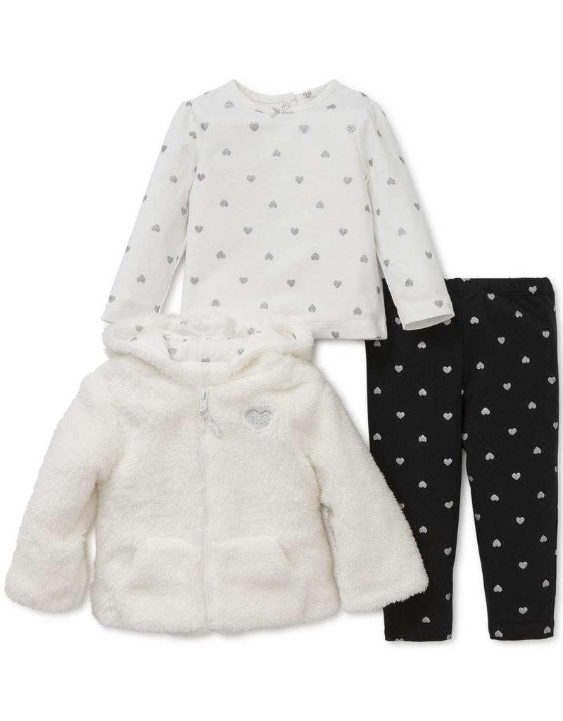 Little Me Fur Hoodie with Black Leggings Set