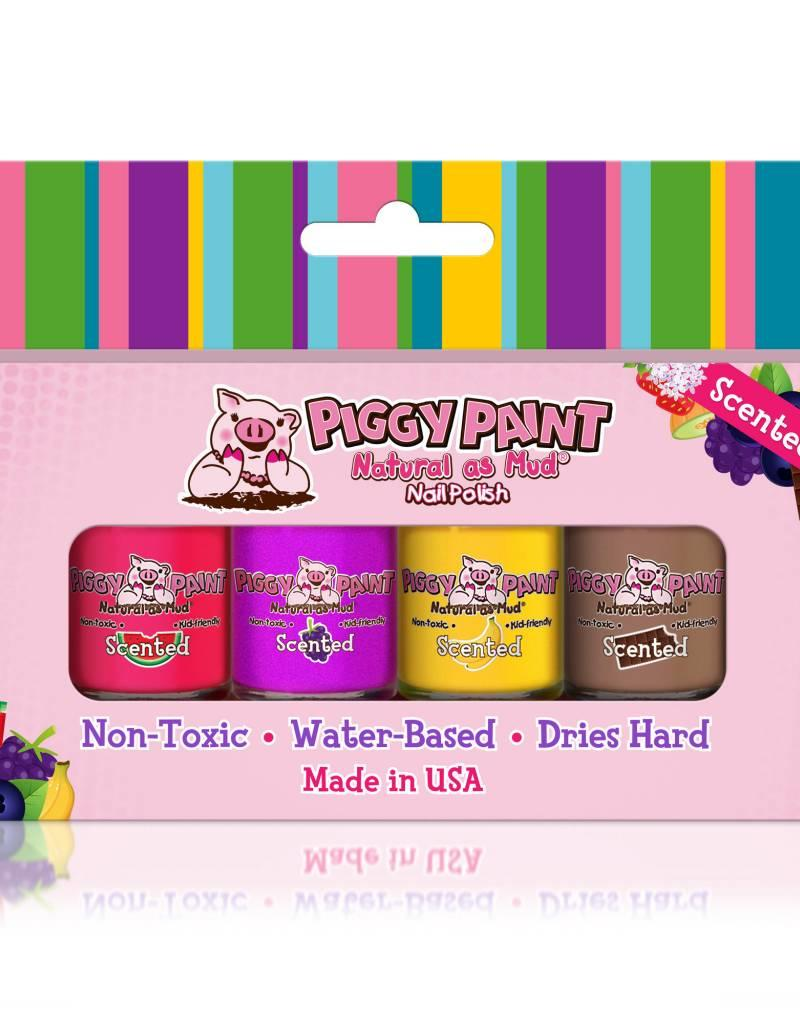 Piggy Paint Scented 4 Polish Box Grape Banana Watermelon Cocoa Loco