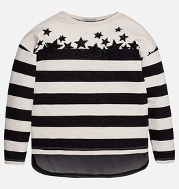 Mayoral USA Black White Stripe Stars Top