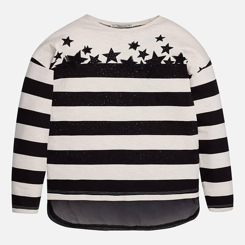 Mayoral USA Black White Stripe Stars Top