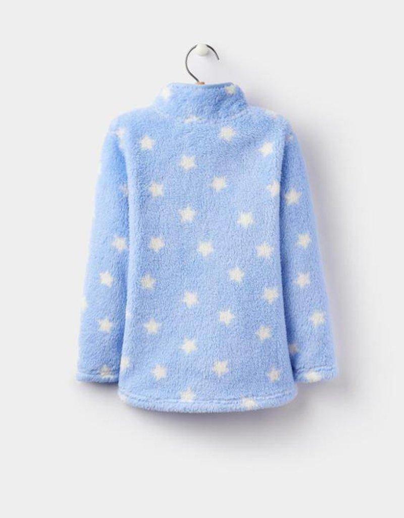 Little Joule White stars light blue fleece zip up