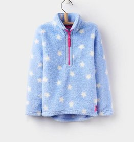 Little Joule White stars light blue fleece zip up