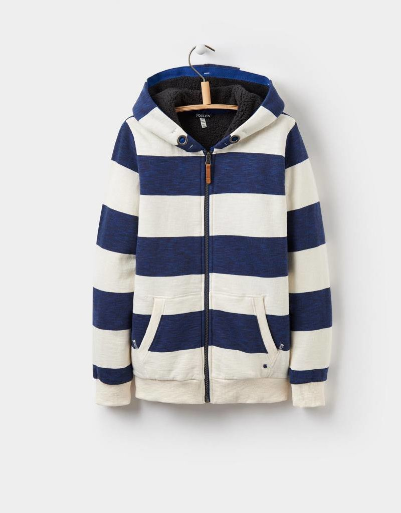 Little Joule Navy Stripe Zip Through Hoody
