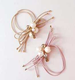 Mae Li Rose Blush Pearl Crystal Hairtie