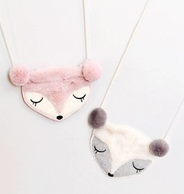 Mae Li Rose Gray Fox Purse