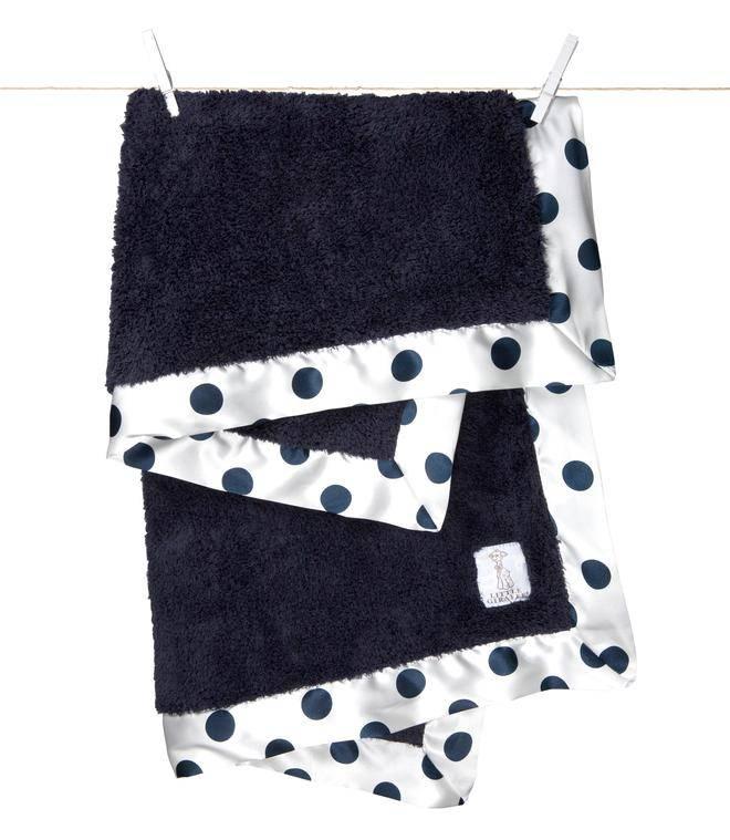 Little Giraffe Denim New Dot Chenille Blanket
