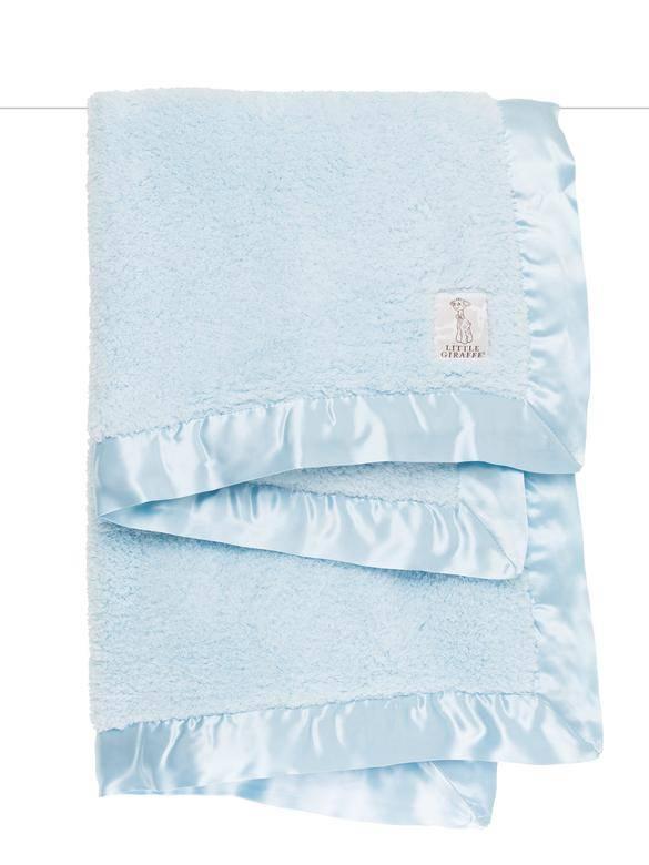 Little Giraffe Blue Chenille Blanket