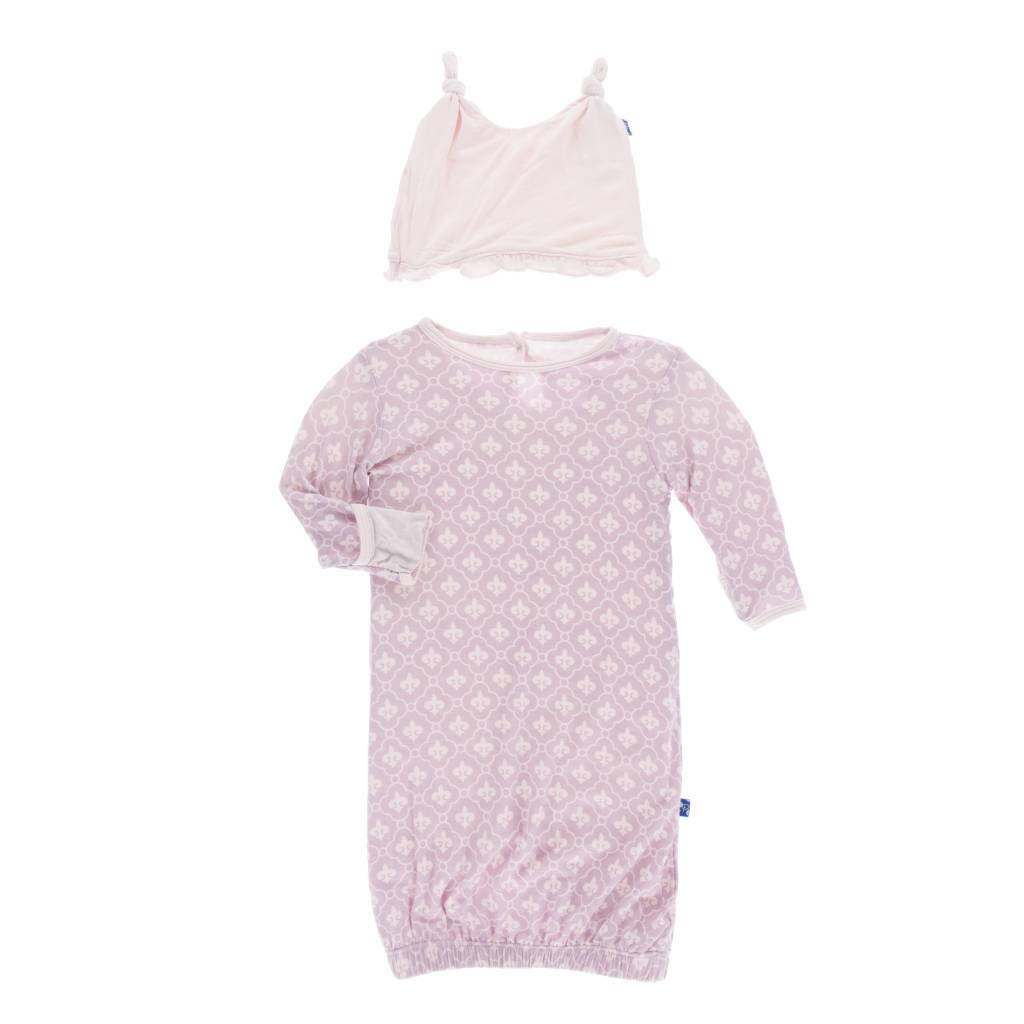 Kickee Pants Fleur de Lis Print Layette Gown and Hat Set