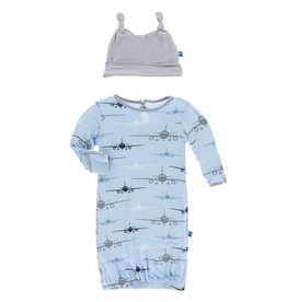Kickee Pants Pond Airplanes Print Layette Gown and Hat Set
