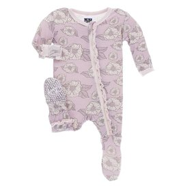 Kickee Pants Sweet Pea with Macaroon Ruffle Zip Footie